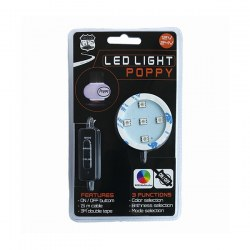 SUPPORT POPPY LUMINEUX ADHESIF 5 LEDS 12/24V